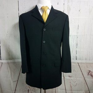 Pierre Cardin 38R 4 Button Black Suit Blazer Sport